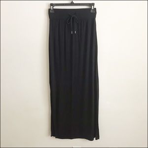 Black Draw String Maxi Skirt
